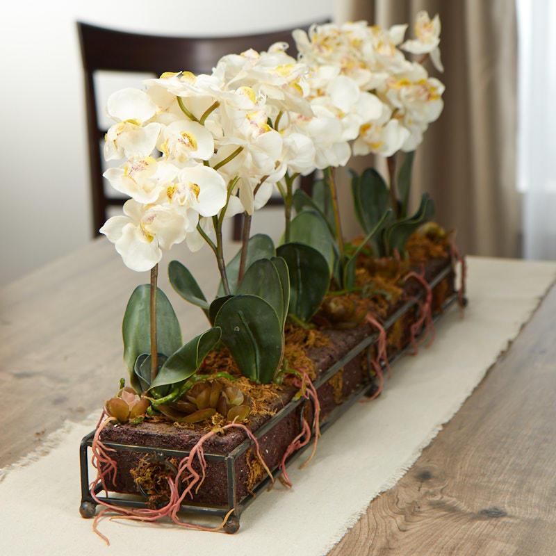 Cream artificial orchid centerpiece centerpieces