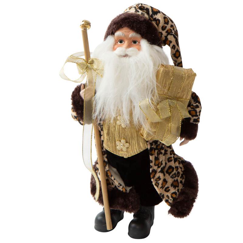 Santa figurine with cheetah print christmas and winter