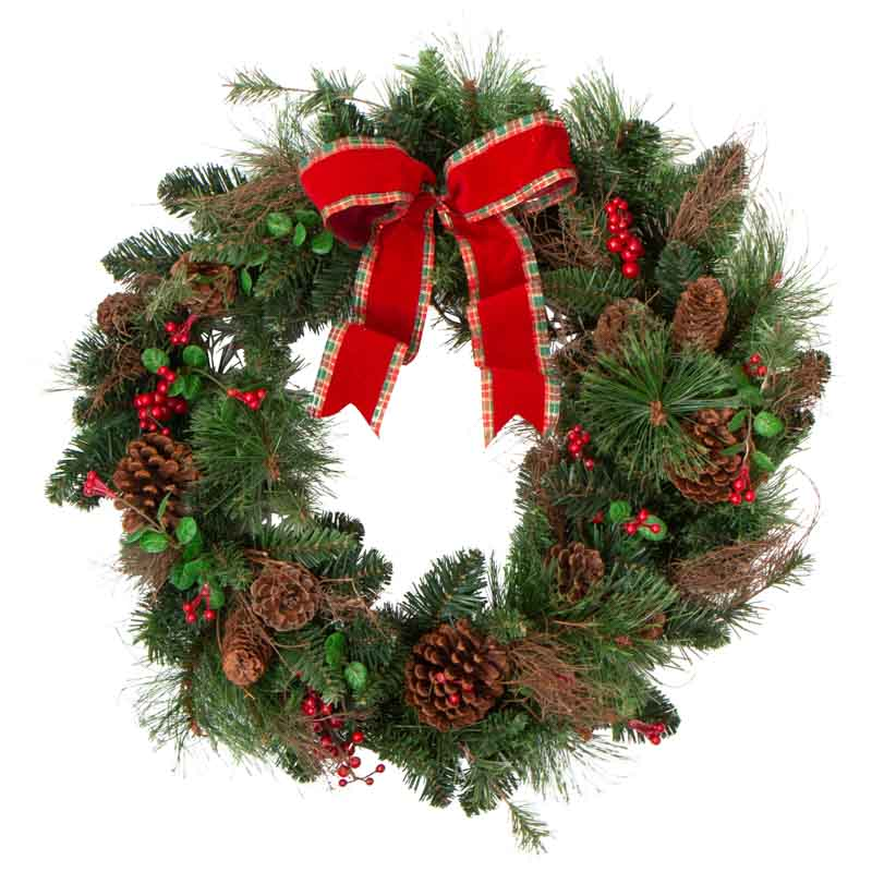 Happy Holidays Artificial Pine Wreath Wreaths Floral