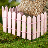 Miniature Pink Wood Picket Fence