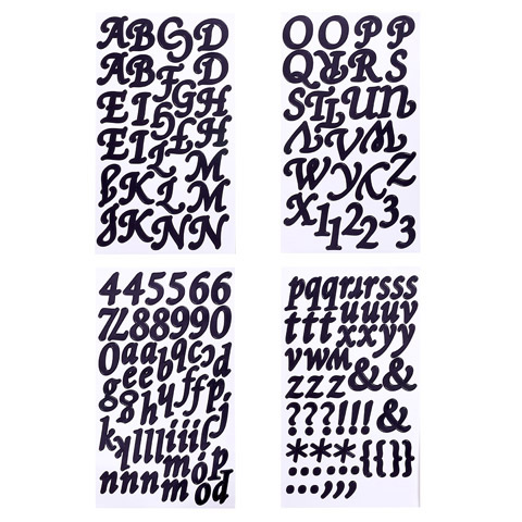 Black Elegant Font Letter and Numbers Stickers - Stickers ...