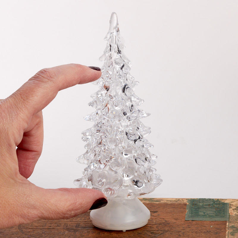Color Switch Christmas Tree: Miniature Acrylic Christmas Tree With Color Change LED