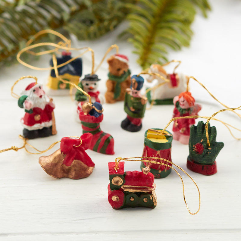 Miniature Christmas Ornaments.Miniature Christmas Figurine Ornaments
