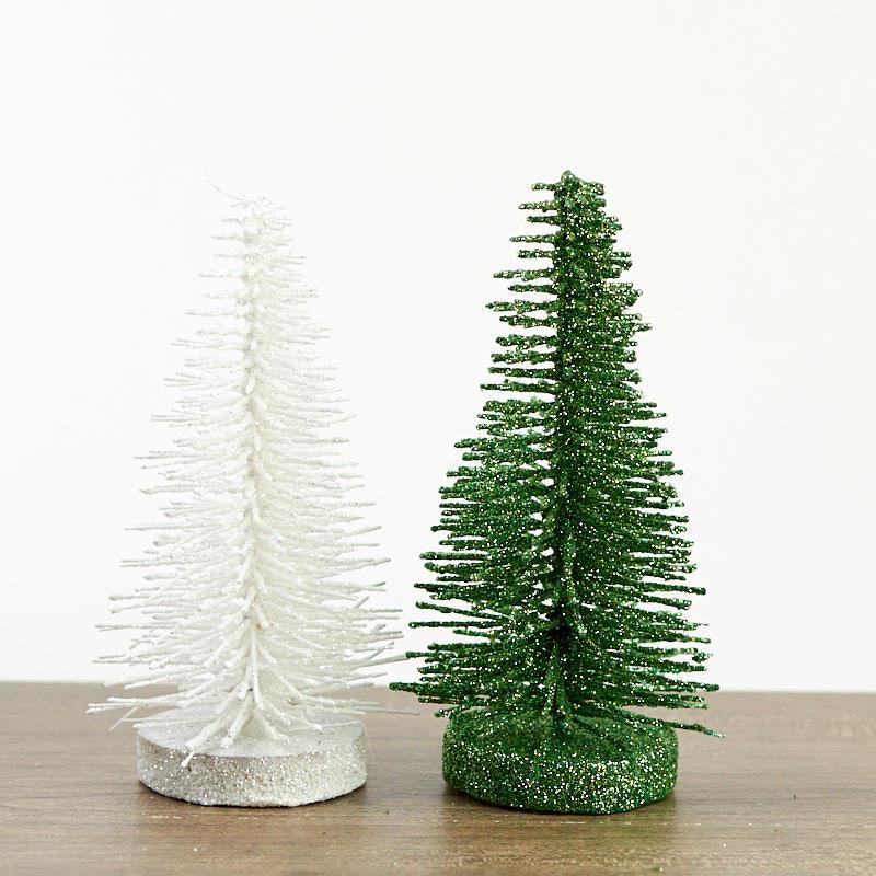Green And White Christmas Tree: Green And White Glittered Bottle Brush Trees