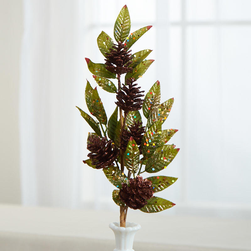 Glittered Artificial Leaf and Pinecones Spray - Holiday ...