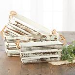 Whitewashed Wood Farmhouse Crate Set