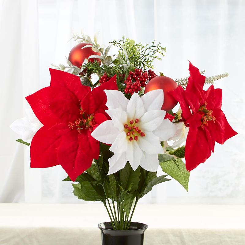 Red And White Artificial Poinsettia Bush In Cone Vase Cemetery