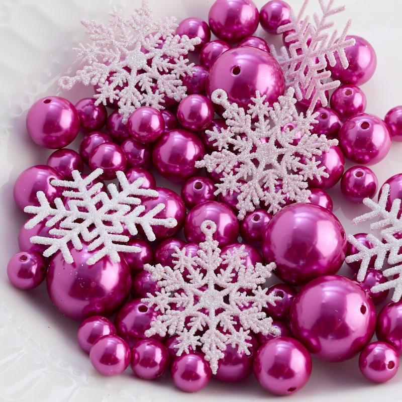 Fuchsia Faux Pearl Bead And Snowflake Vase Filler Confetti Table