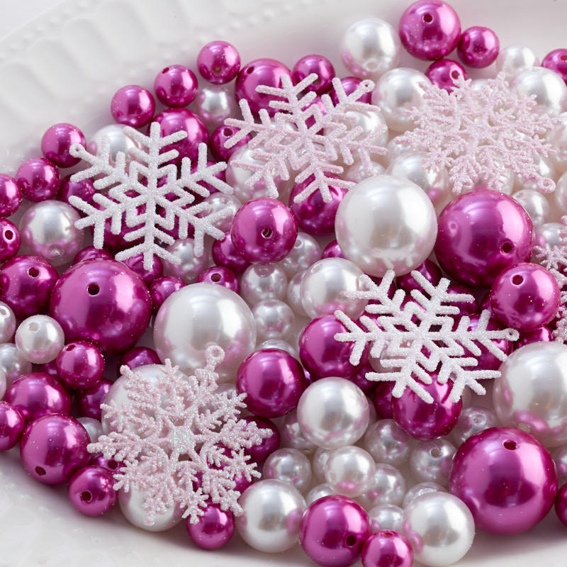 Fuchsia and White Faux Pearl Bead and Snowflake Vase Filler