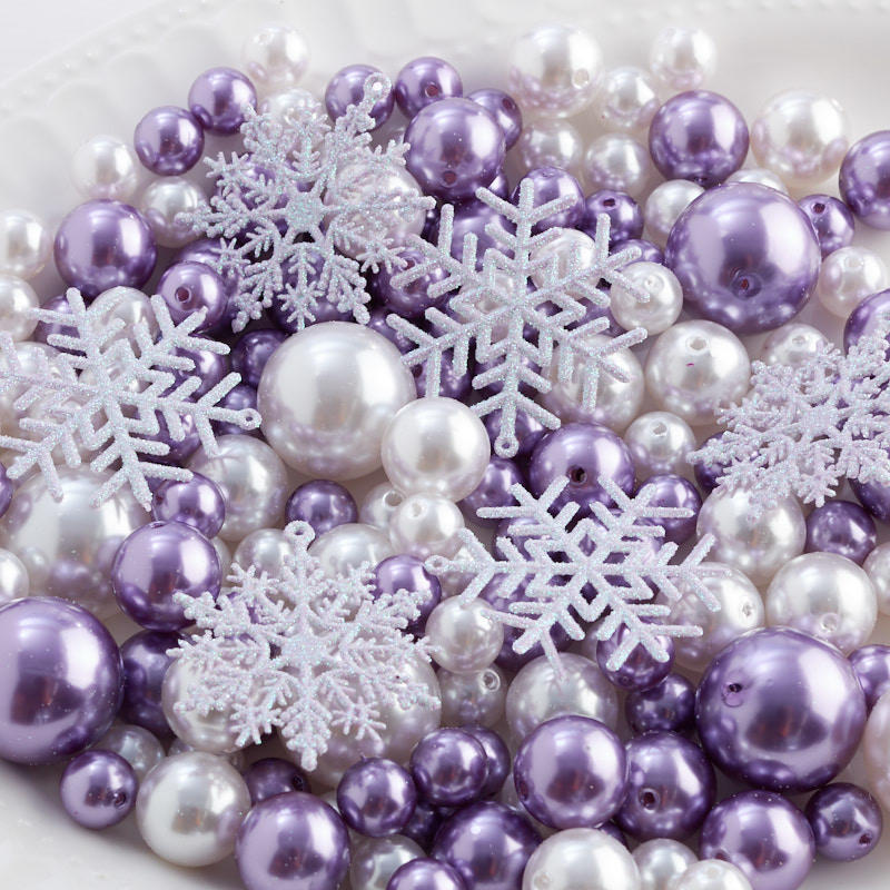 Purple and White Faux Pearl Bead and Snowflake Vase Filler