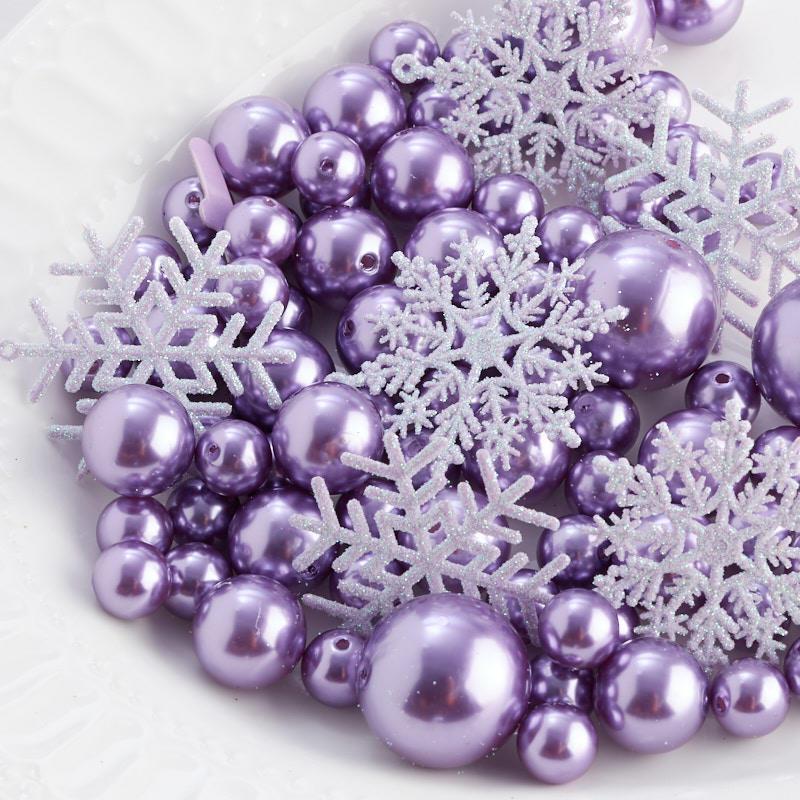 Purplicious Faux Pearl Bead And Snowflake Vase Filler Confetti