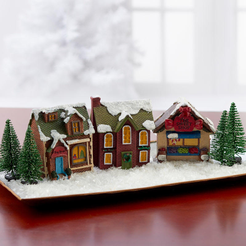 Miniature Christmas Village Scenery Set Table Decor Home Decor