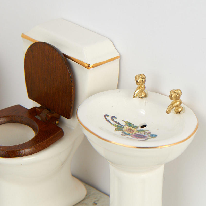 miniature dollhouse ceramic bathroom set bathroom