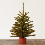 Artificial Pine Tree with Wood Base