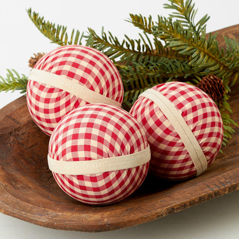 Red Gingham Fabric Christmas Ball Ornaments