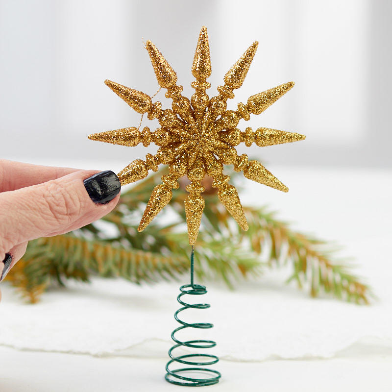 miniature gold glittered star tree topper trees and toppers christmas and winter holiday. Black Bedroom Furniture Sets. Home Design Ideas