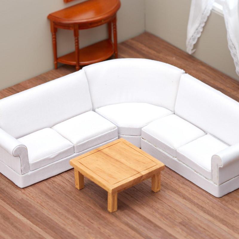 Dollhouse Miniature White Corner Sofa Set