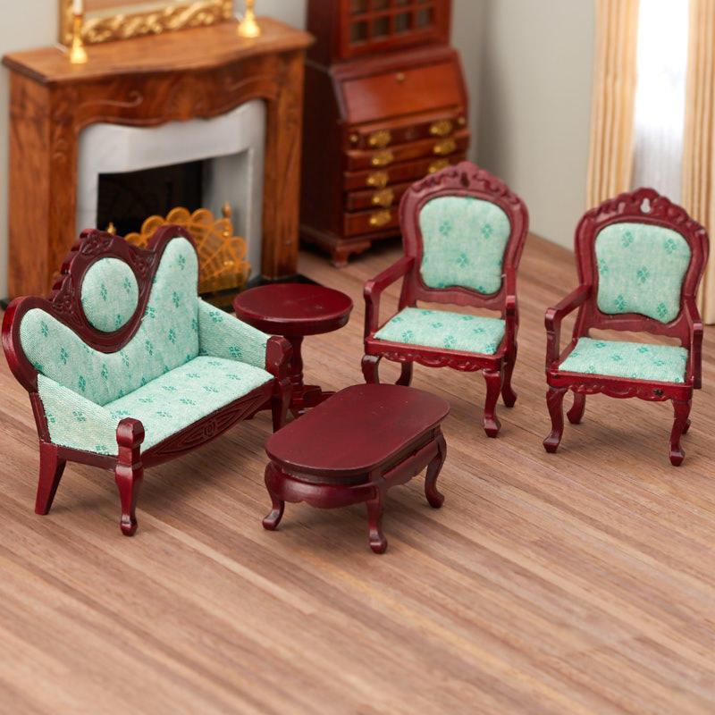 cool 12 scale dollhouse living room set | Dollhouse Miniature Light Green Victorian Living Room Set ...