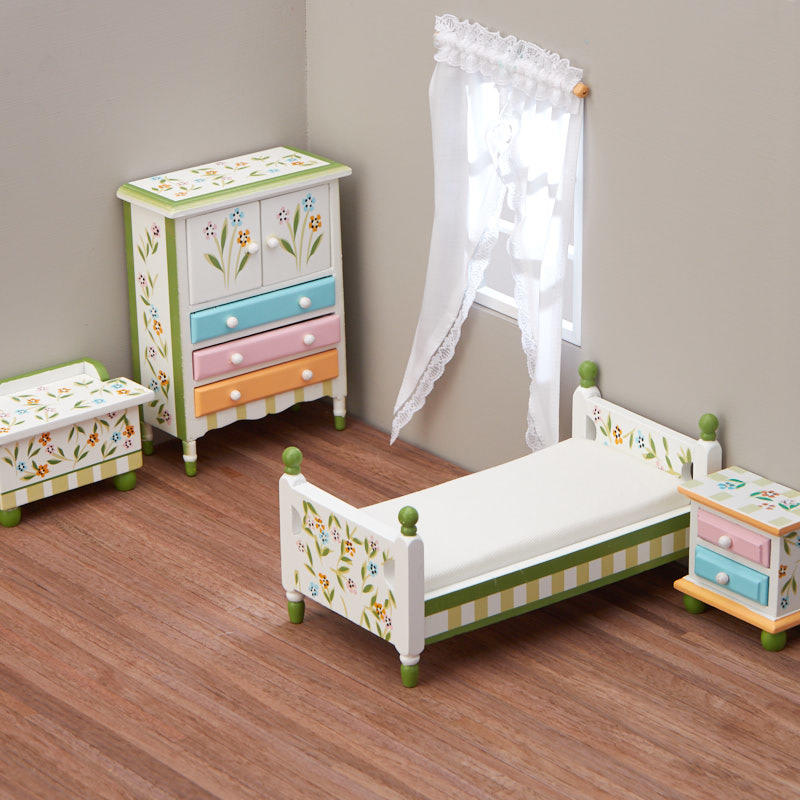 Dollhouse Miniature Springtime Bedroom Set