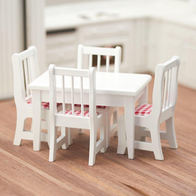 Dollhouse Miniature White Kitchen Table Set