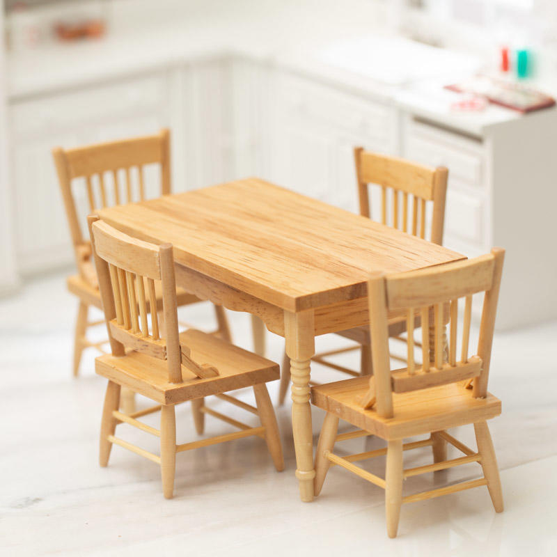 Oak Kitchen Table Set: Dollhouse Miniature Oak Kitchen Table Set