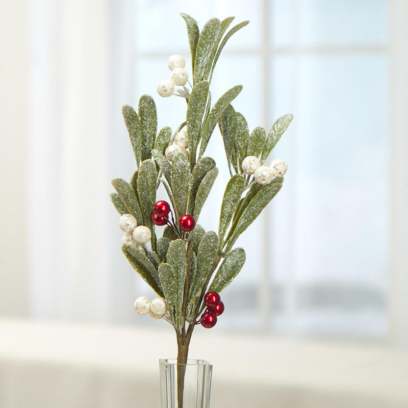 Set of 4 Factory Direct Craft Artificial Frosted Mistletoe with Jingle Bells
