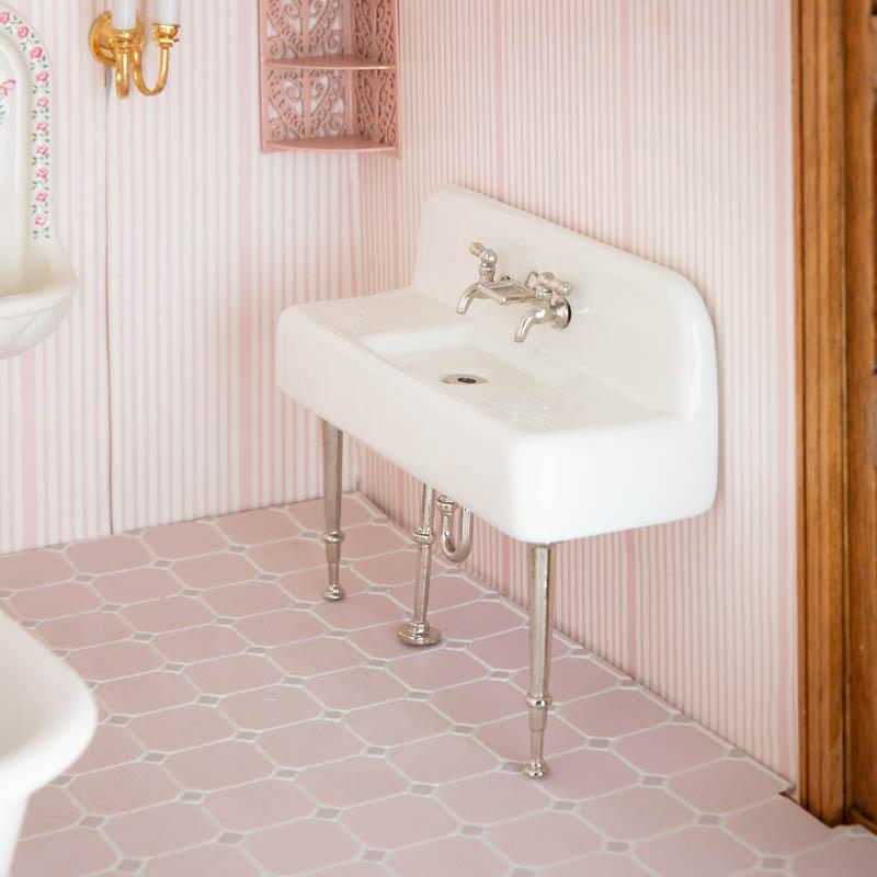 Dollhouse Miniature Porcelain Farmhouse Kitchen Sink Bathroom