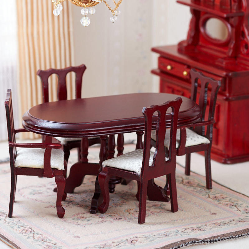 Dollhouse Miniature Mahogany Dining Room Set