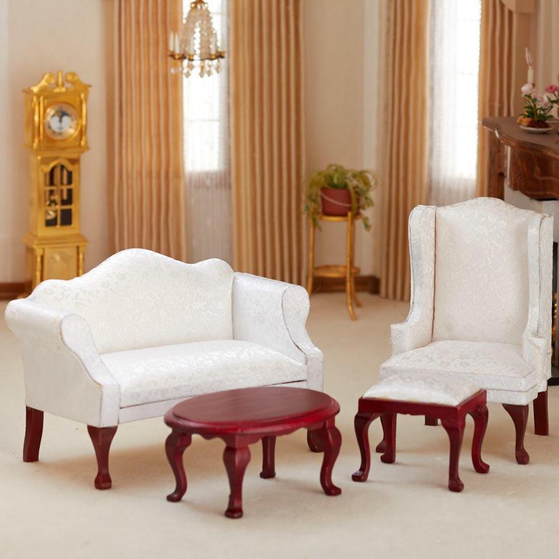 Dollhouse Miniature White Queen Anne Living Room Set