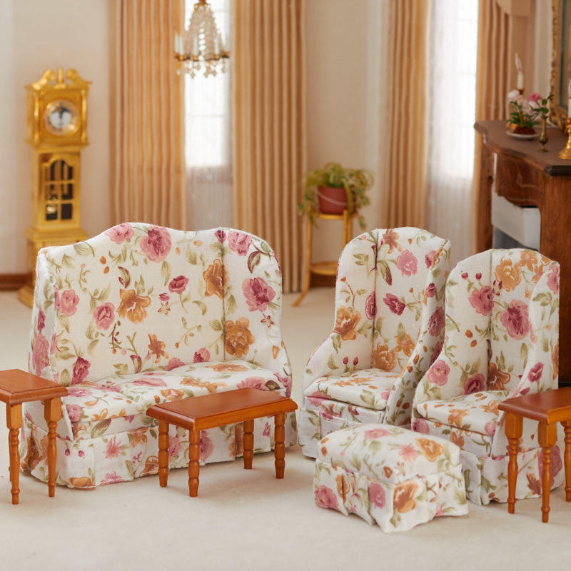 Floral Living Room Sets: Dollhouse Miniature Floral Living Room Set
