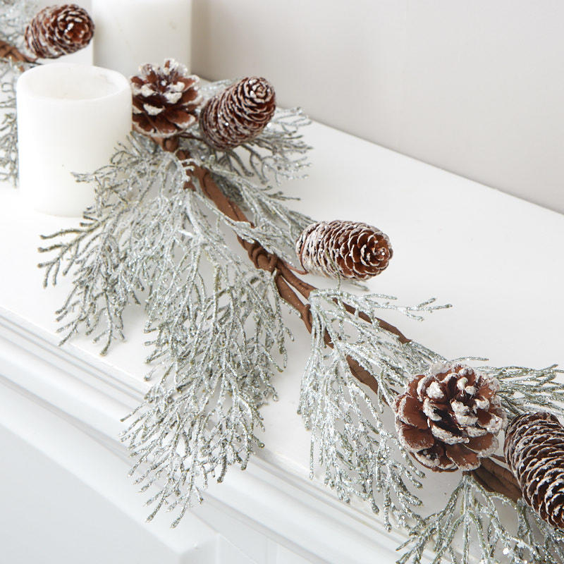 Factory Direct Craft Decorative Platinum Glittered Coated Natural Pinecones 12 Pinecones