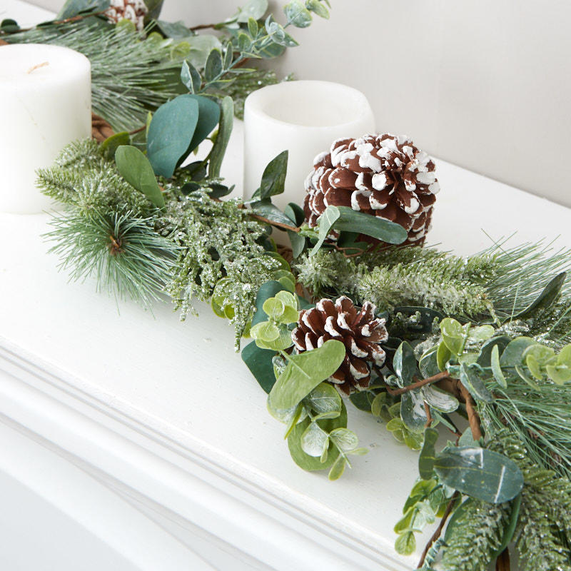 Frosted Artificial Pine And Eucalyptus Garland