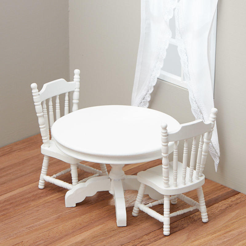 White Kitchen Chairs: Dollhouse Miniature White Kitchen Table And Chairs Set