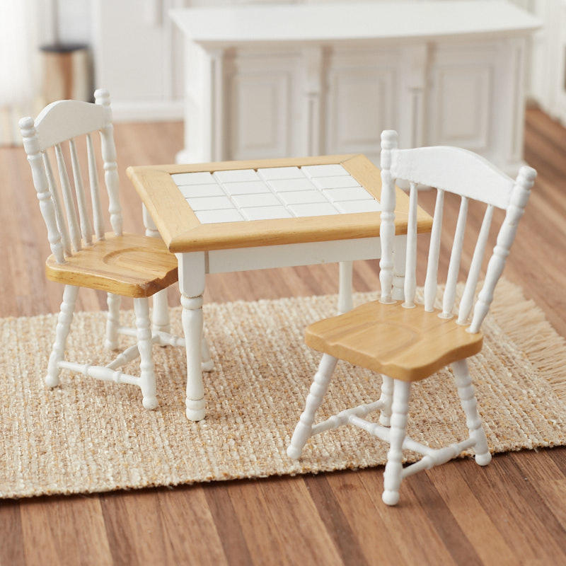 Dollhouse Miniature Oak And White Kitchen Table And Chairs