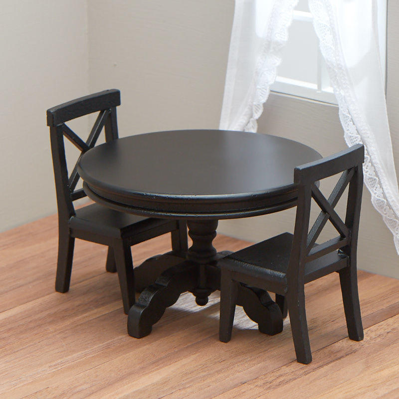 Black Kitchen Chairs: Dollhouse Miniature Black Kitchen Table And Chairs Set