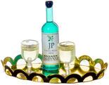 Dollhouse Miniature White Wine Glasses Tray Set