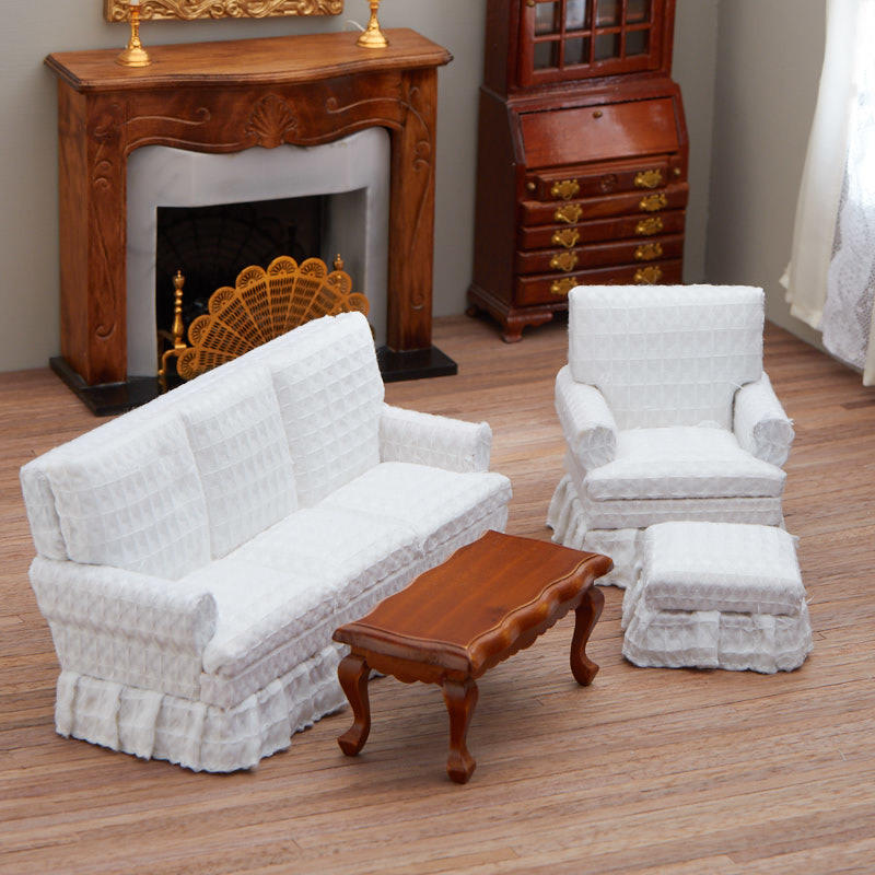 Dollhouse Miniature White Living Room Set
