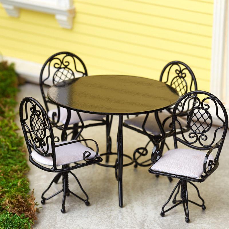 Phenomenal Dollhouse Miniature Black Patio Table And Chairs Set Download Free Architecture Designs Scobabritishbridgeorg
