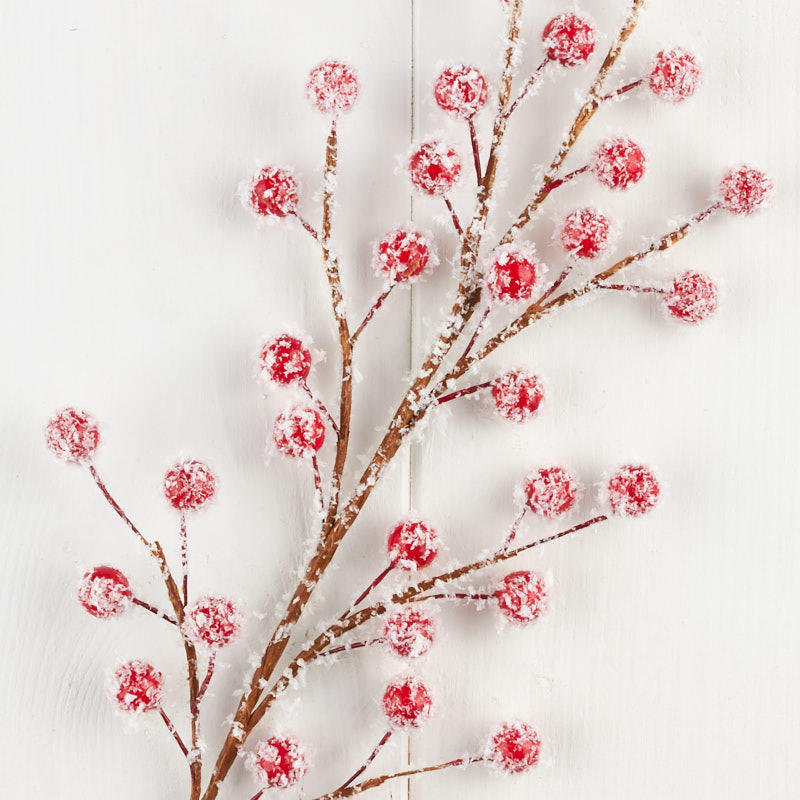 Snowy Red Artificial Berry Spray Picks Sprays Floral Supplies Craft Supplies Factory Direct Craft