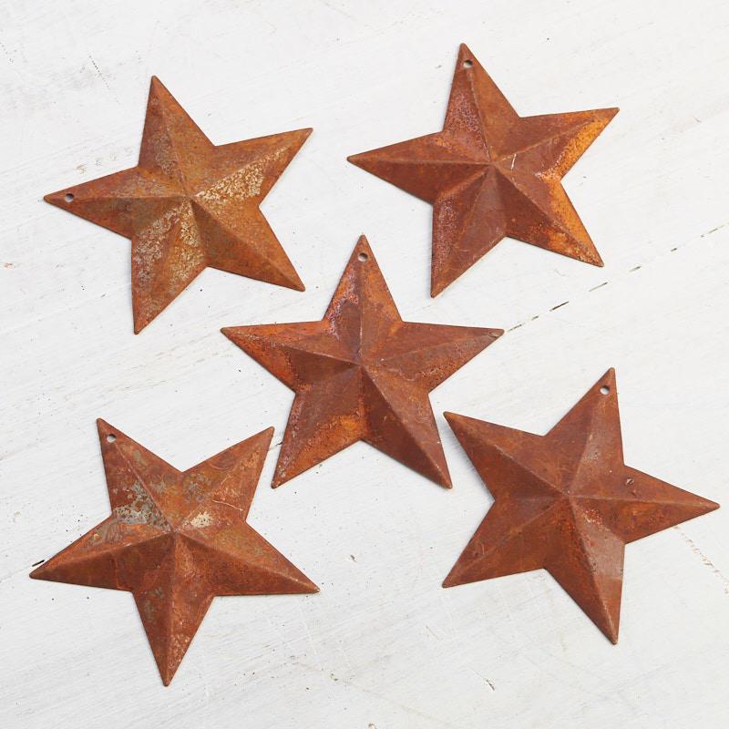 Rusty Tin Star Cutouts with Flat Backs12 Stars