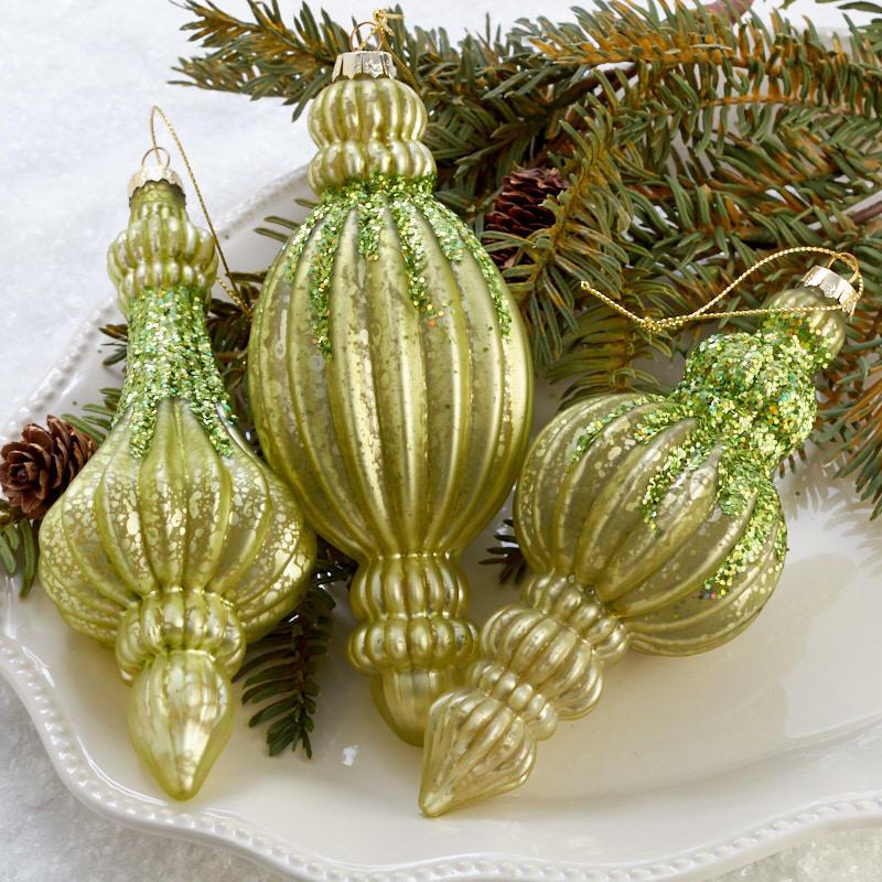 Light Green Mercury Glass Christmas Ornament Set Christmas