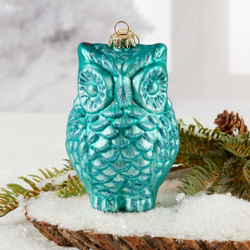 Blue Mercury Glass Owl Christmas Ornament Christmas Ornaments