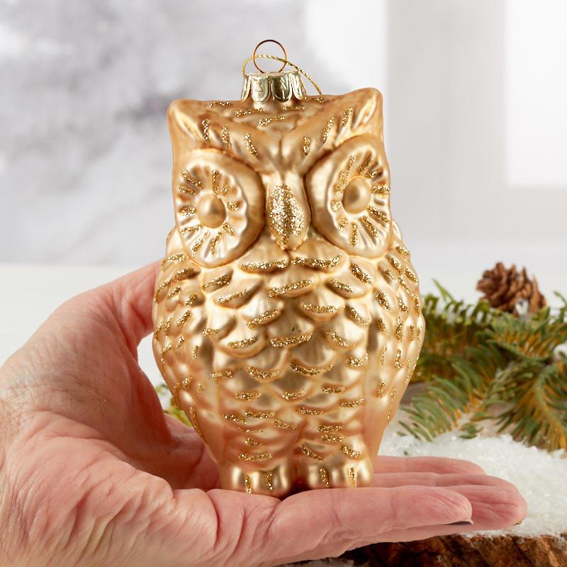 Gold Mercury Glass Owl Christmas Ornament Christmas Ornaments