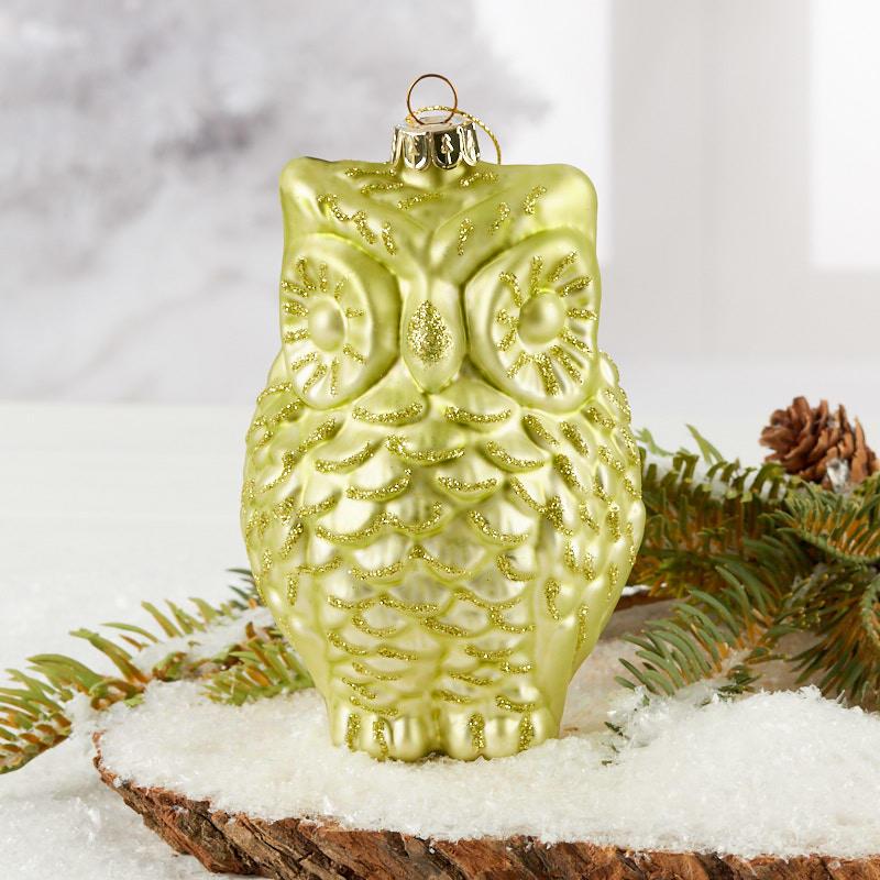 Light Green Mercury Glass Owl Christmas Ornament Christmas