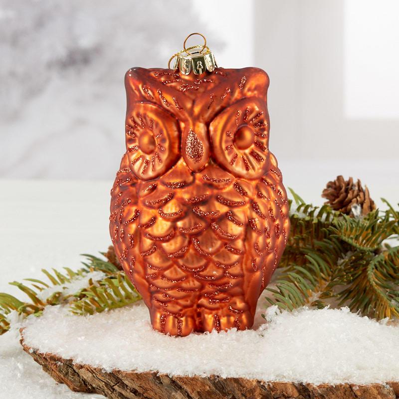 Rust Mercury Glass Owl Christmas Ornament Christmas Ornaments