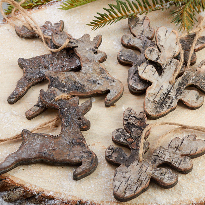 Christmas Tree Made Of Deer Antlers: Rustic Birch Deer And Antler Ornaments