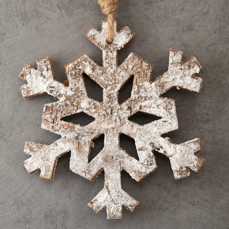 Large Rustic White Washed Snowflake Ornament Christmas