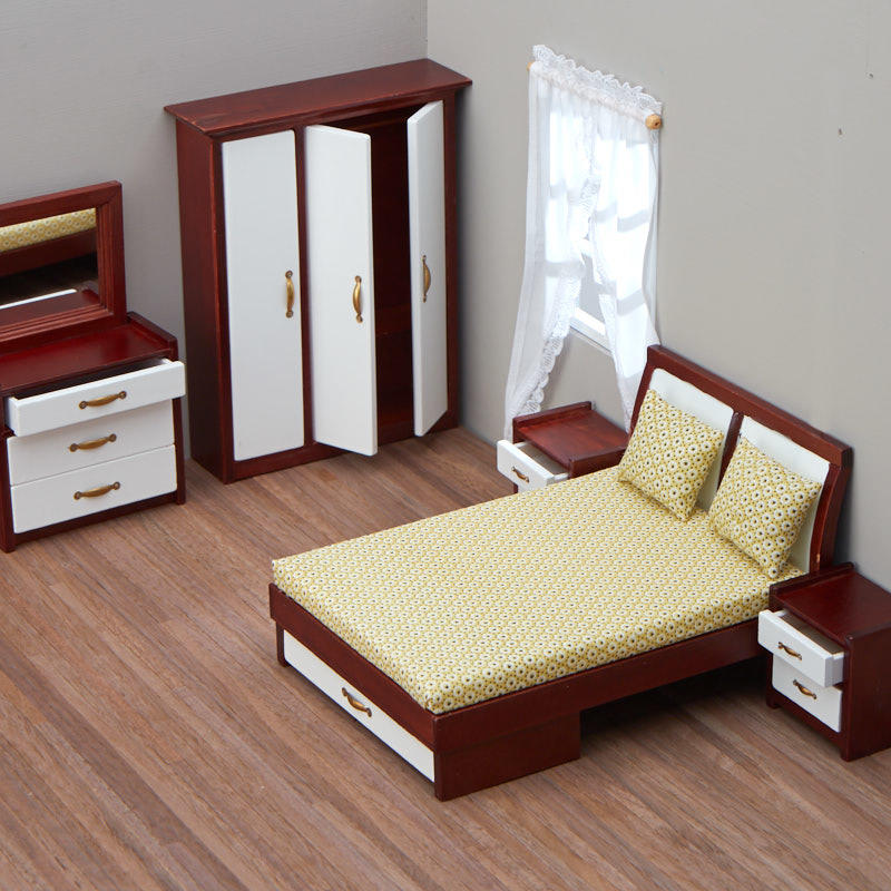 Dollhouse Miniature Mahogany Modern Bedroom Set