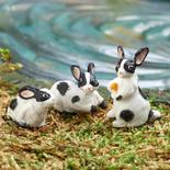 Dollhouse Miniature Grey and White Rabbits