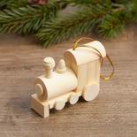 Unfinished Wood Train Ornament